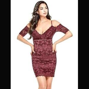 GUESS burgundy off-the-shoulder dress